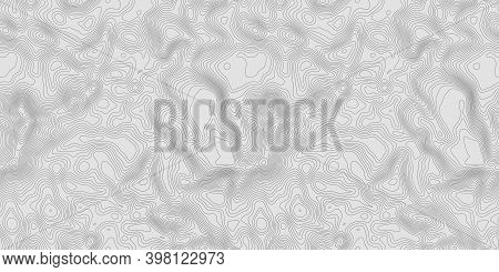 Seamless Topographic Map. Grey Contours Vector Topography. Geographic Mountain Topography Vector Ill