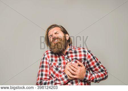 Heartache. Man Had A Heart Attack. Heart Attack. Heart Pain. Bearded Man Had A Heart Attack