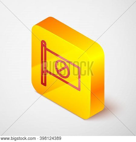 Isometric Line Protest Icon Isolated On Grey Background. Meeting, Protester, Picket, Speech, Banner,