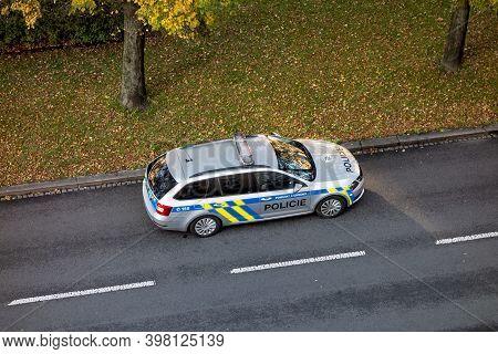 Ostrava, Czech Republic - October 24, 2020: Silver Skoda Octavia Combi Police Car Of Policie Ceske R
