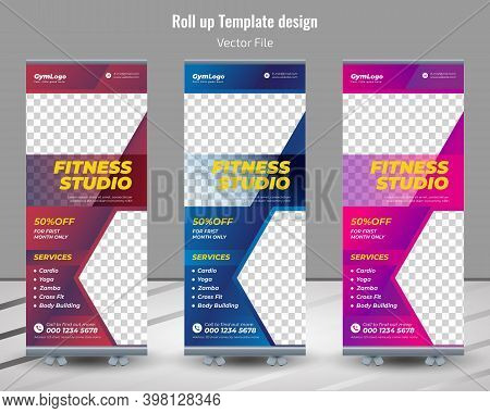 Rollup Banner Design For Gym, Fitness Club, Healthcare,modern Fitness & Gym Rollup Template,fitness