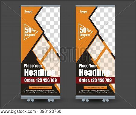 Restaurant Food Roll-up Or X Banner Template, Food Restaurant Roll Up The Banner Template, Food And