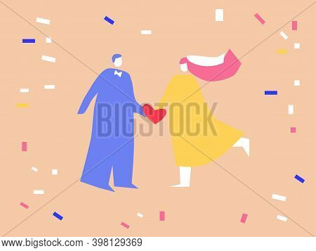 Bride And Groom Holding Hands Together Vector Illustration - Happy Couple On Confetti Background - P