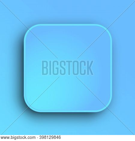 Button Template With Realistic Shadow On Gradient Background. Plate With Round Corner Surface. Vecto