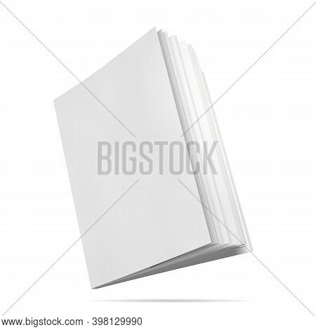 Book Mockup Blank Cover. Vector Illustration. Notepad With Realistic Light And Shadow. Face Side Vie