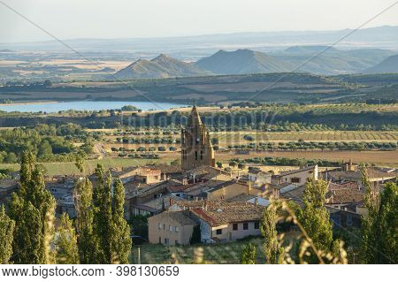 Loarre, Aragon, Panoramic Views Huesca, Spain From Top The Village, Castle Of Loarre