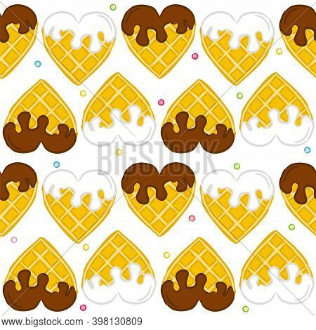 Seamless Vector Pattern Of Waffle Hearts. Wafer Hearts Poured With Chocolate And White Cream. Backgr