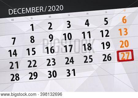Calendar Planner For The Month December 2020, Deadline Day, 27, Sunday
