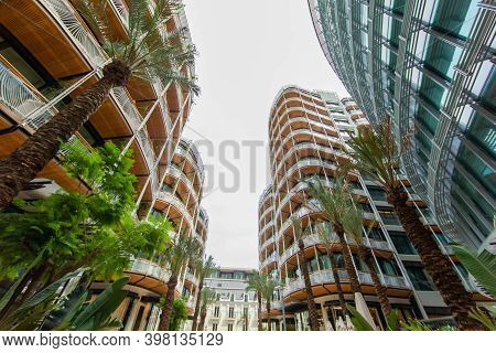 Monaco, Monte-carlo, 09 July 2019: Facade Of The New Residential Quarter Of One, Magnificent Apartme