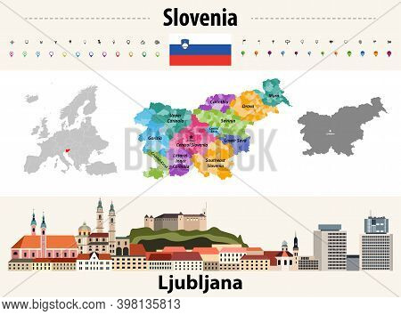 Slovenia Administrative Divisions Map. Flag Of Slovenia. Ljubljana Cityscape. Vector Illustration
