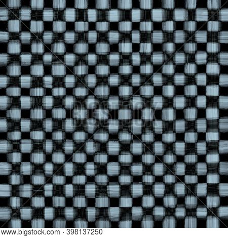 Light Blue Black Gray Vintage Checkered Background With Blur, Gradient And Grunge Texture. Classic C