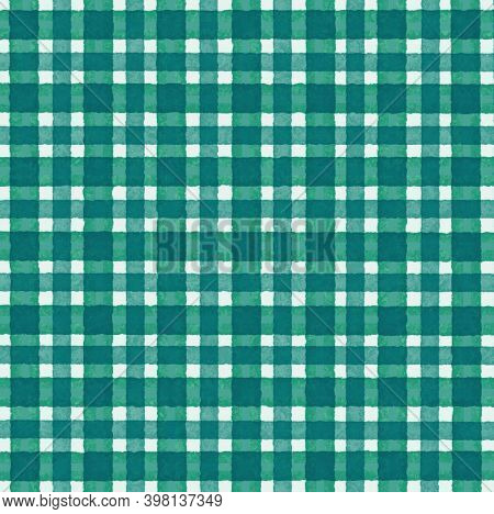 Green White Blue Vintage Checkered Background With Blur, Gradient And Grunge Texture. Classic Checke
