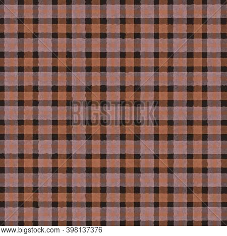 Brown Black Pink Orange Vintage Checkered Background With Blur, Gradient And Grunge Texture. Classic