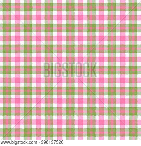 Pink White Olive Green Vintage Checkered Background With Blur, Gradient And Grunge Texture. Classic