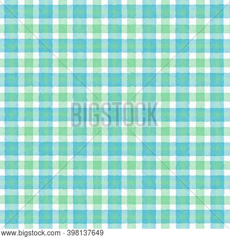 Green White Turquoise Blue Vintage Checkered Background With Blur, Gradient And Grunge Texture. Clas