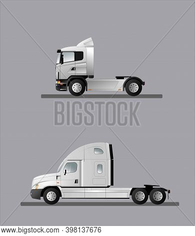 Truck Tractor, European And American Versions. Car For The Delivery Of Semi-trailers With Loads. Vec