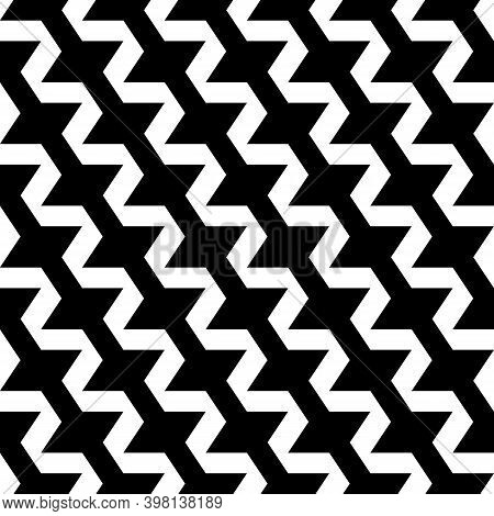 Seamless Vector. Figures Ornament. Curves Pattern. Jagged Stripes Wallpaper. Geometric Image. Zigzag