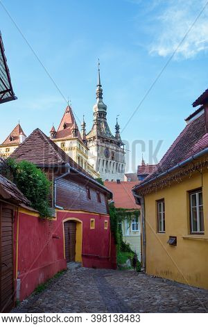 Medieval Citadel, Located In The Historic Region Of Transylvania, Built By Transylvanian Saxons.old