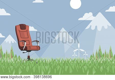 Brown Leather Work Chair In Summer Meadow Vector Flat Illustration. Modern And Stylish Gaming Chair,