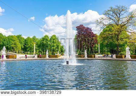 Potsdam, Germany - May 2019: Fountain In Sanssouci Park