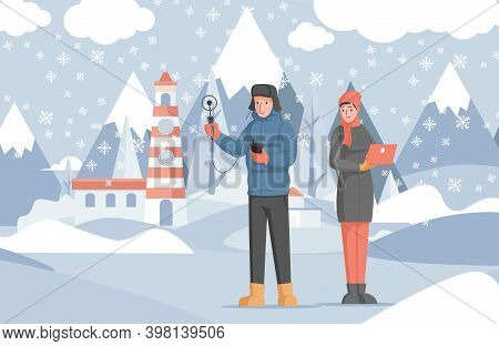 Scientists Study Winter Weather Using Special Equipment And Laptop Vector Flat Illustration. Winter