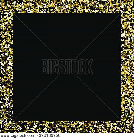 Glitter Frame. Gold Square Border On Black Background. Christmas Backdrop With Copy Space. Golden Ma