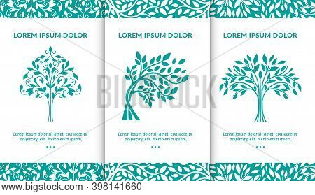 Vector Set Of Turquoise Tree Logos. Modern Vector Illustration. Isolated Vector. Great For Emblem, M