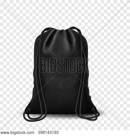 Black Mockup Backpack Bag, Drawstring Isolated On White Background. Blank Template With Bags, Realis