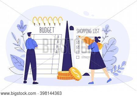 Family Budget Concept. The Couple Is Planning Finances At Crisis. A Woman Writes A Shopping List, A