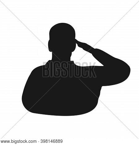 Saluting Man Black Silhouette Icon. Military Honour Gesture Symbol. Isolated Vector Illustration.
