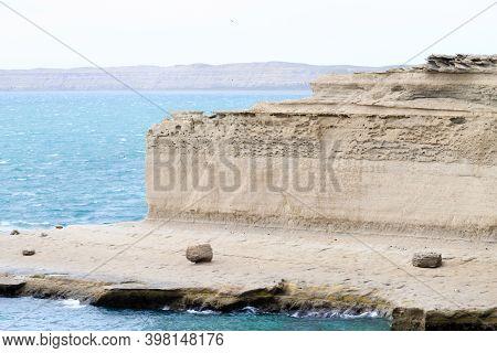 Valdes Peninsula Beach Landscape, Patagonia, Argentina. Valdes Peninsula View
