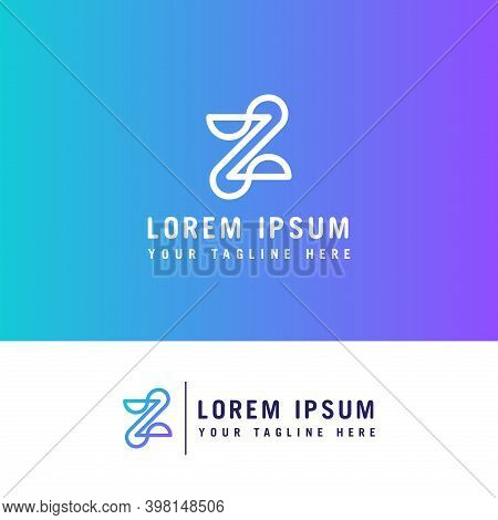 Z Letter Mono Line Logo With Minimalist Style.