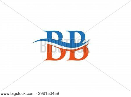 Initial Bb Logo Design. Creative And Minimalist Letter Bb Logo Design With Water Wave Concept.