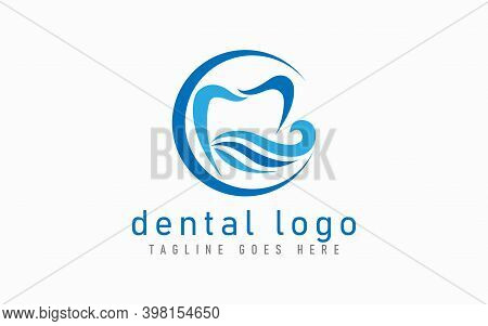 Modern Dental Logo Design. Blue Dental Symbol In The Abstract Circle Combine With Abstract Blue Wave
