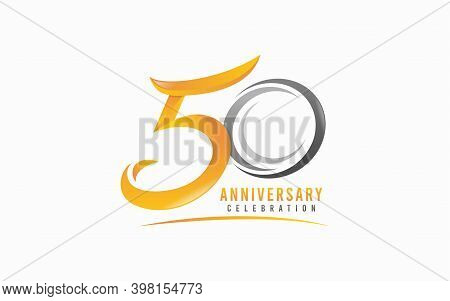 50 Th Anniversary Symbol Logo Design. Modern 50 Shape Formed From Abstract Orange And Grey Shape Com