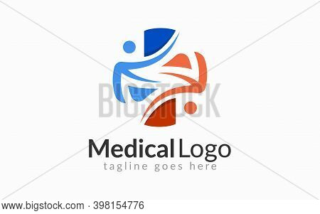 Medical Logo Design. Medical Logo Formed From An Abstract People Shape Usable For Medical, Foundatio