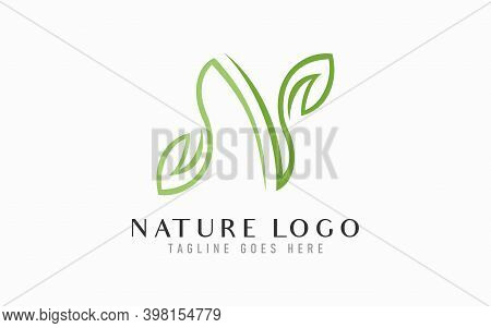 Initial Letter N Logo Design. Letter N Formed From Abstract Leaf Design, Usable For Business, Indust