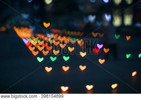 Orange Rainbow Bokeh And Blur Heart Shape Love Valentine Day Colorful Night Light On Floor