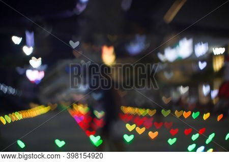 Rainbow Bokeh And Blur Heart Shape Love Valentine Colorful Night Light