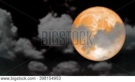 Super Cold Moon Rise Back Blur Dark Cloud On The Night Sky