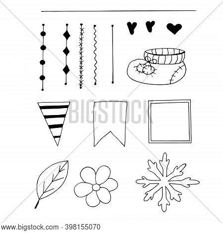 Scrapbook Doodle Elements Set Sketch Hand Drawn. For Design Card, Invitation, Frame, Vector, Monochr