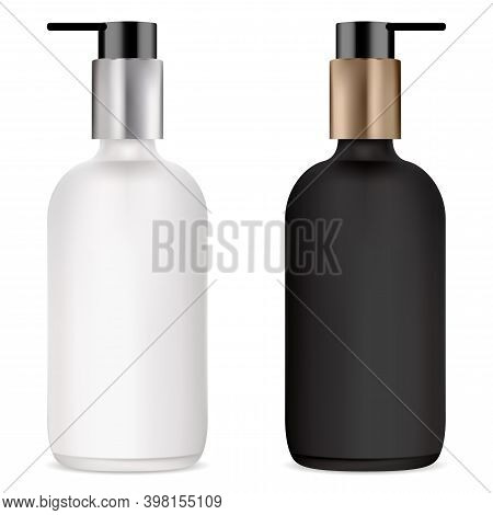 Pump Bottle For Cosmetic Serum, Black And White Mockup. Clear Glass Bottles With Plastic Dispenser F