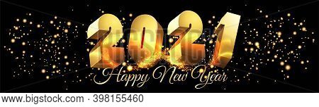 2021 Happy New Year Shining Banner 3d Horizontal With Golden Text Vector Illustration - Golden New Y