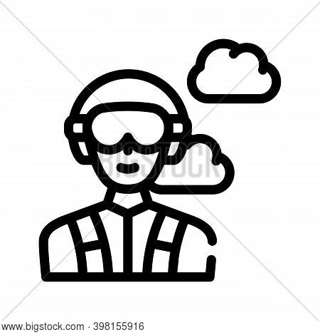 Paratrooper Worker Line Icon Vector Illustration Flat
