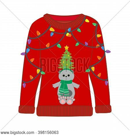 Christmas Party Ugly Sweater With Cat Vector Illustration