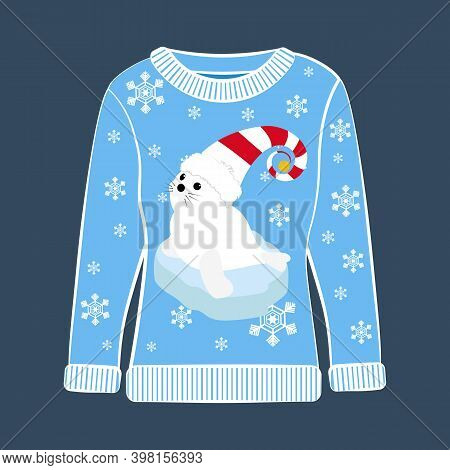 Christmas Party Ugly Sweater With Seal Vector Illustration