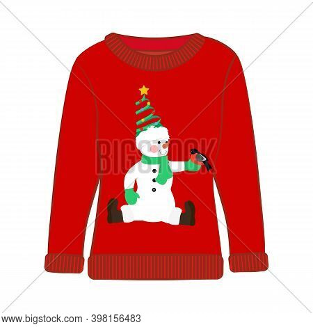 Christmas Party Ugly Sweater With Snowman Vector Illustration