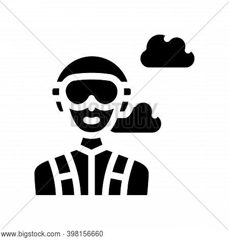 Paratrooper Worker Glyph Icon Vector Illustration Black