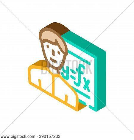 Mathematician Engineer Worker Glyph Icon Vector Illustration
