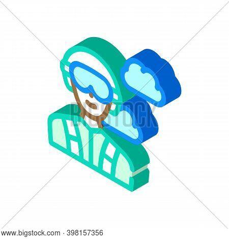 Paratrooper Worker Glyph Icon Vector Illustration Color